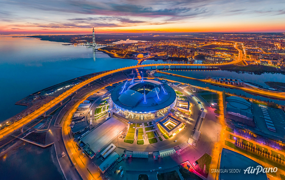 Saint-Petersburg Stadium at night, Russia