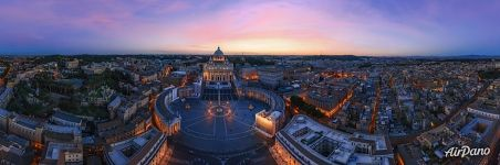 Vatican, St. Peter's Basilica and Saint Peter's Square at dusk
