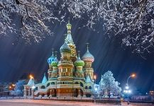 St. Basil's Cathedral in winter. Moscow, Russia