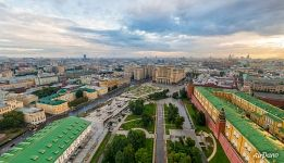 Walls of the Moscow Kremlin and Manege Square