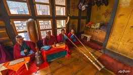 Puja in the Thangbi Lhakhang