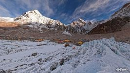 At the base of Khumbu icefall, Himalayas