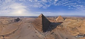 Panorama of the Great Pyramids of Giza in Egypt