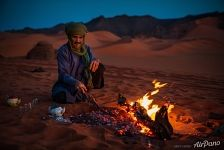 Tuareg campfire in the Sahara Desert