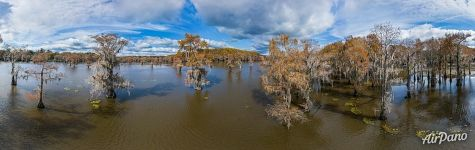 Autumn on the lake in Texas. Panorama