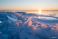 Pink sunrise, Baikal Ice-drifts