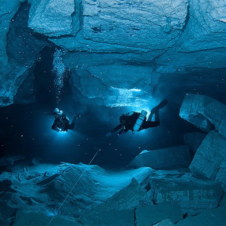 Orda Cave. The first underwater cave panorama in the world