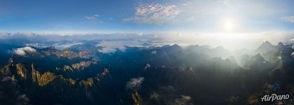 Huangshan mountains from above. Panorama