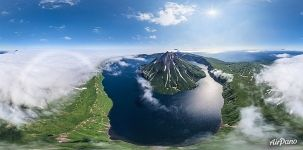 Krenitsyn Volcano and Koltsevoe (Ring) Lake, North Kurile Islands, Kamchatka, Russia