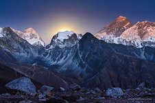 Everest at moon rise