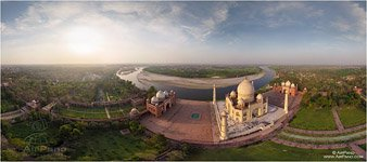 India, Taj Mahal from the altitude of 200 meters